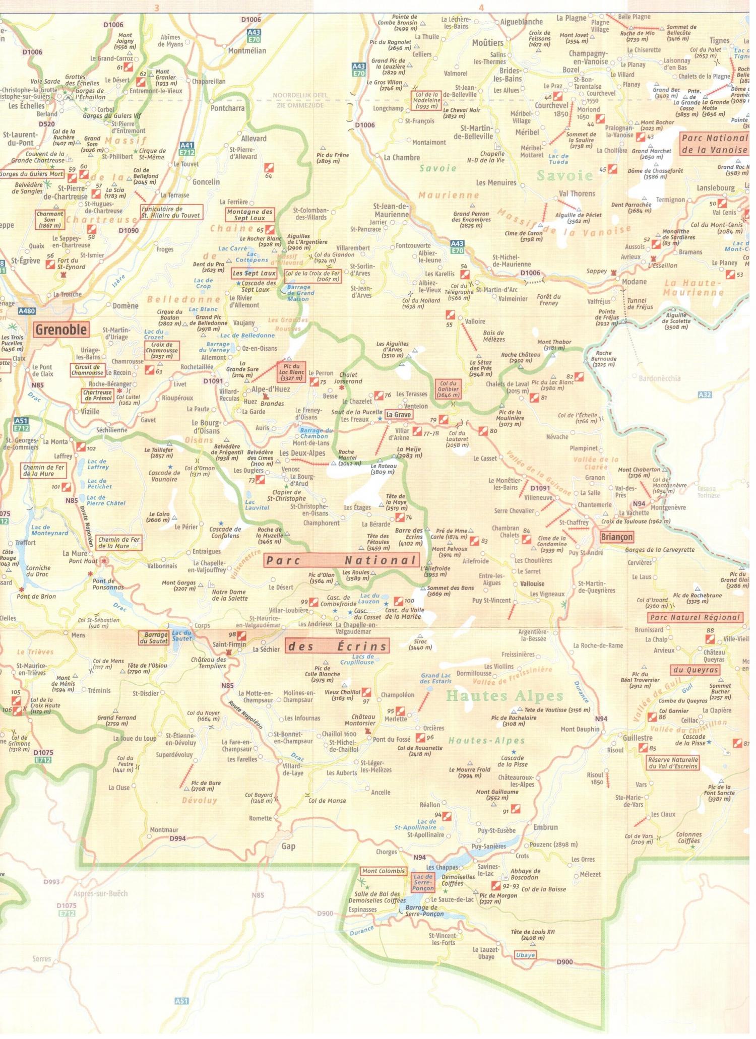 Kaart Franse Alpen